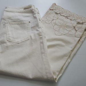 Pilcro | Anthropologie Off White Cropped Jeans 30
